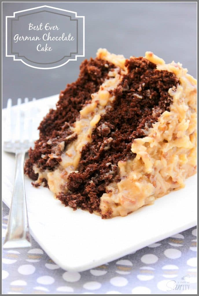 Best Ever German Chocolate Cake 2 layer cake with coconut pecan frosting