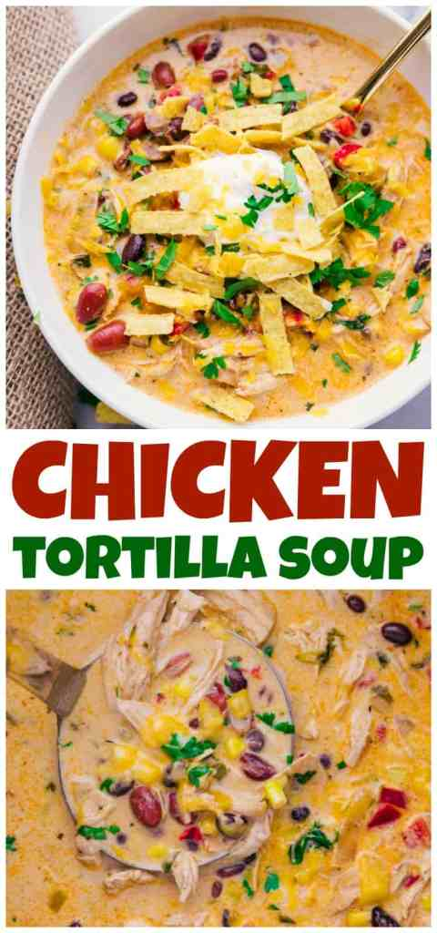Chicken Tortilla soup in a bowl and slow cooker.