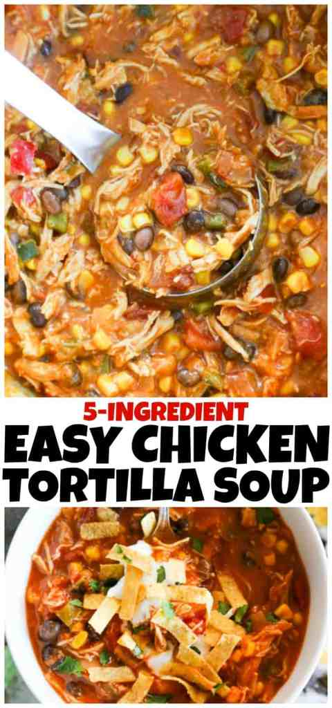 This recipe forEasyChicken Tortilla Soupis a simple 5-ingredient meal that my whole family loves. It's great for a quick meal during the busy night.