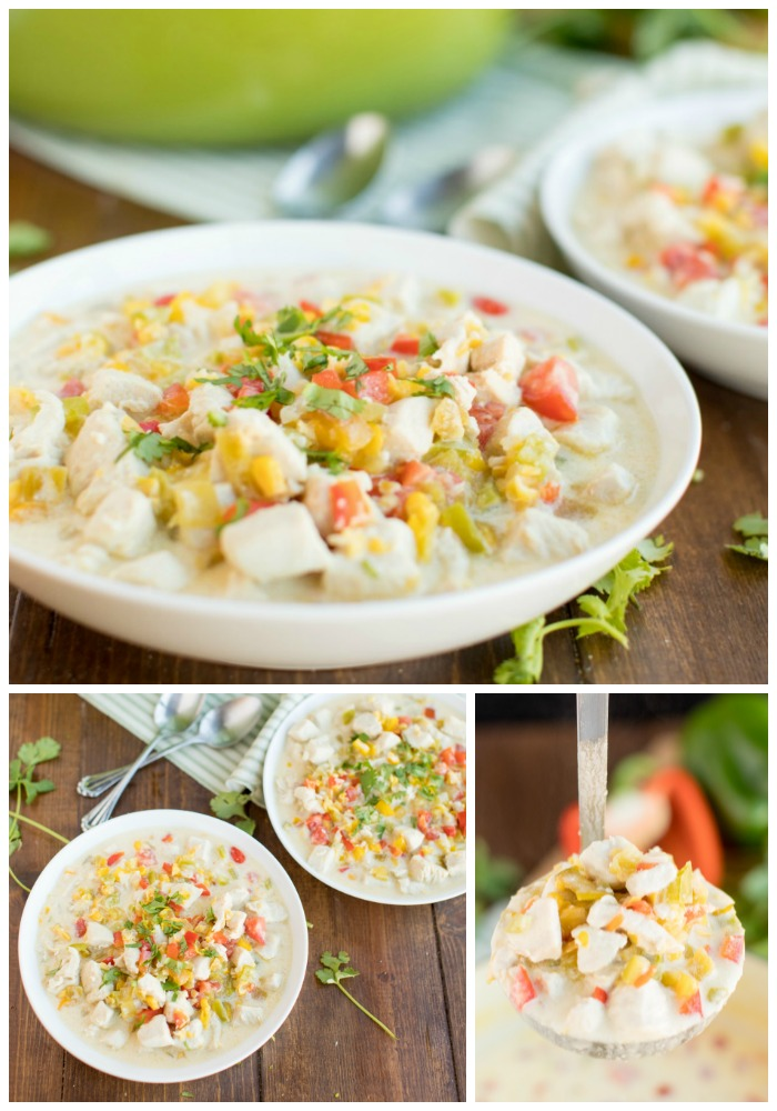 Mexican Corn Chowder ladle and white bowl