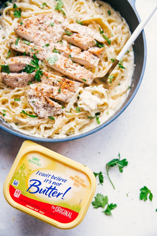 skinny alfredo sauce with I can't Believe IT's Not Butter!
