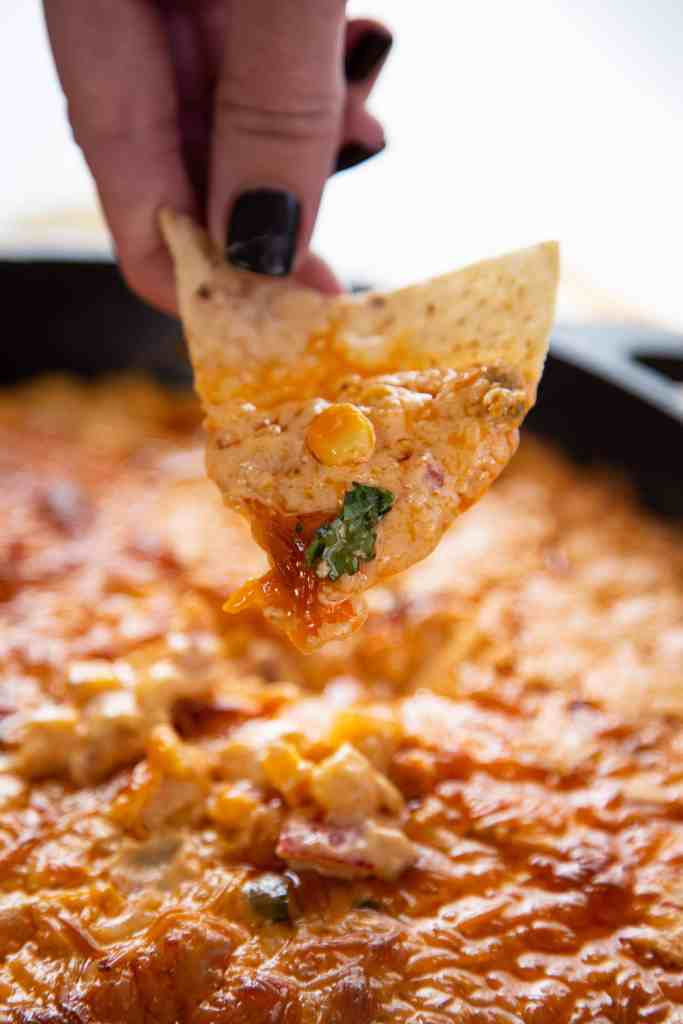 corn queso dip with chip