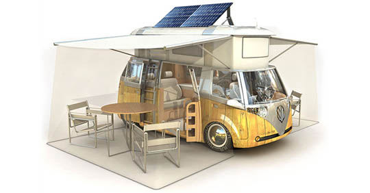 solar powered vw camper bus puts the bus on the cutting edge of renewable energy