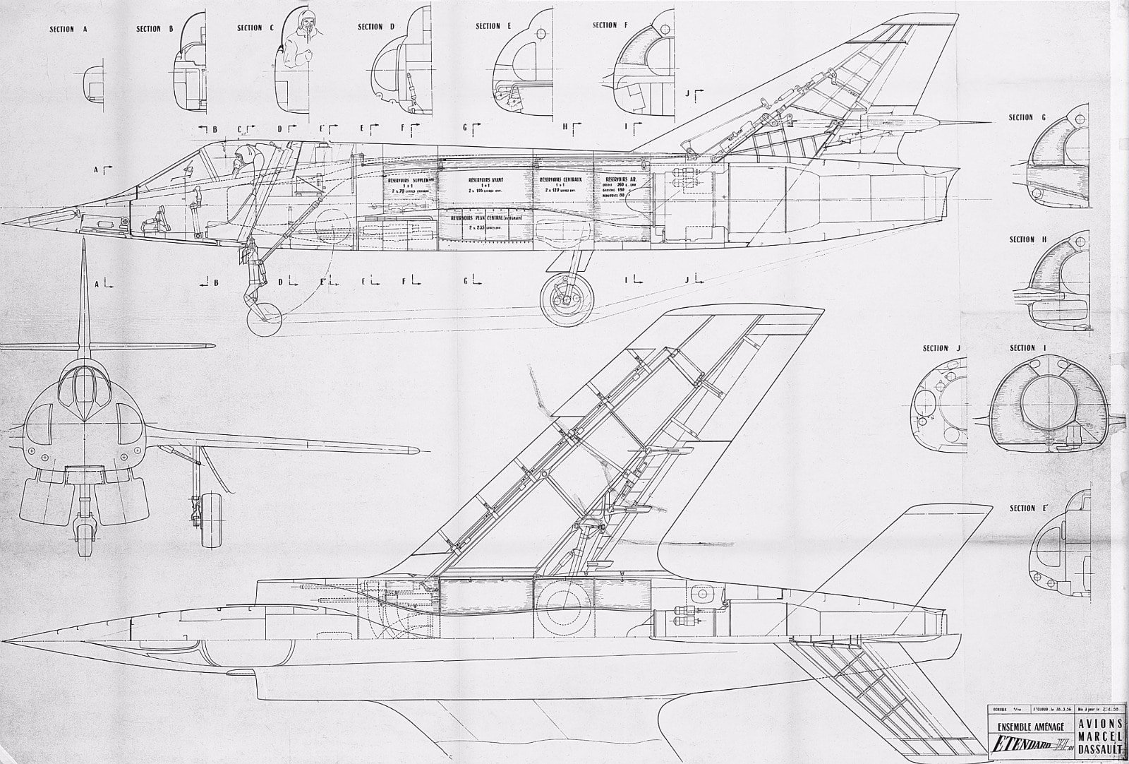 3 View Drawings Of A Selection Of Dassault Aviation Aircraft