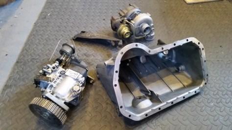 Sump, Fuel Pump, Turbo and Turbo Bracket