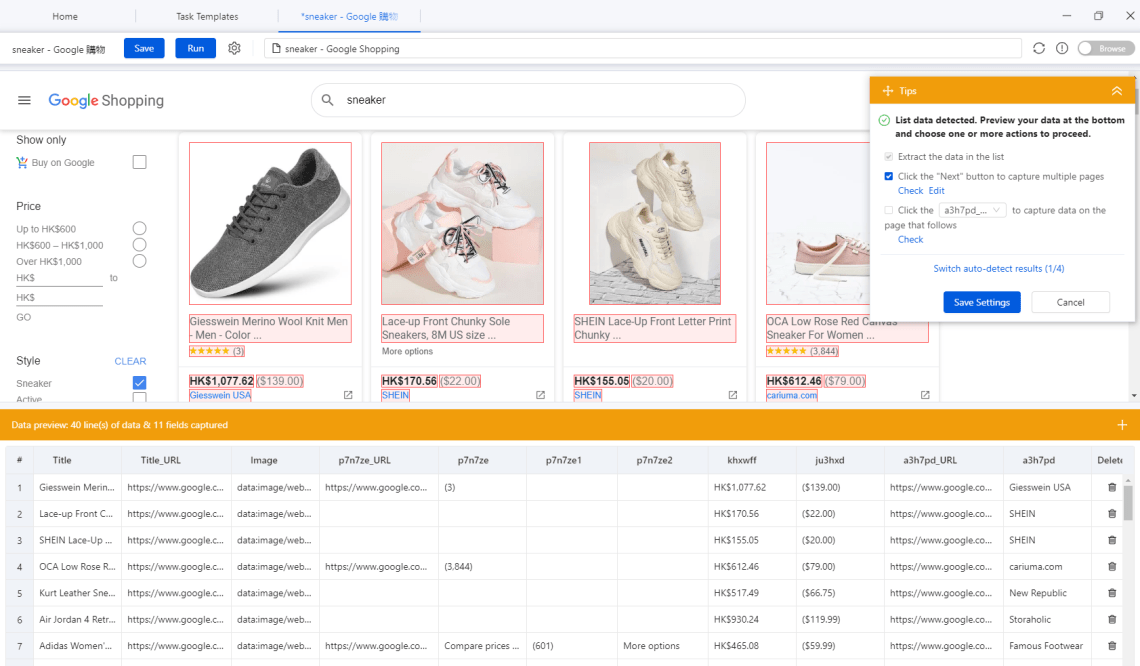 Scrape Google Shopping Prices