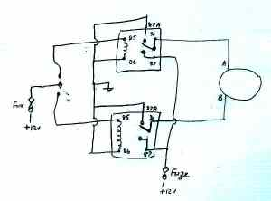 Wiring circuit for relays in the window motor layout