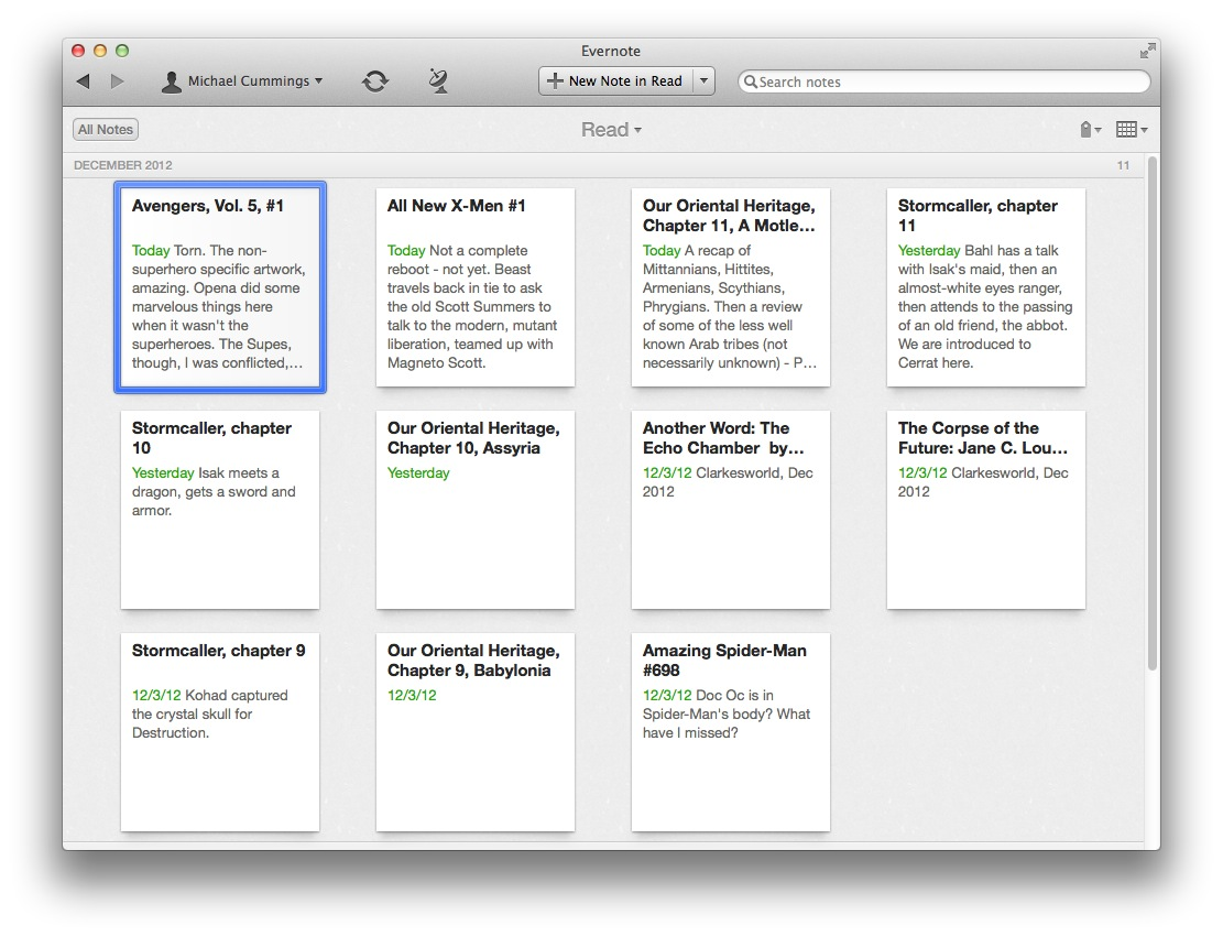 Reading log in Evernote | datanode net