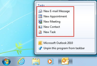 Create new items without open Outlook