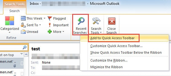 Add Recent Searches to Quick Access Tool
