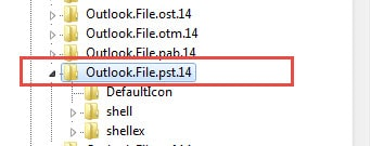"""Locate """"Outlook.File.pst.14"""" in Registry Editor"""
