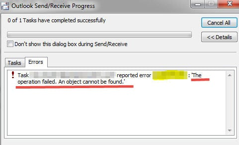 5 Resolutions to Outlook Error \u201cAn Object could not be found\u201d - Data