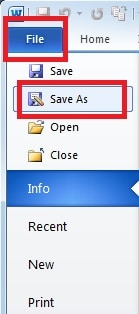 "Select ""Save As"""