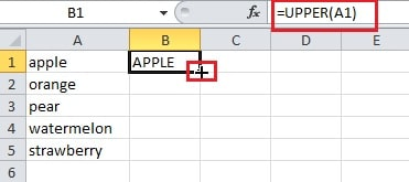 how to change lowercase to uppercase in excel 2016
