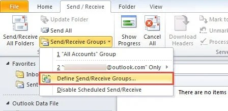 Define Send/Receive Groups