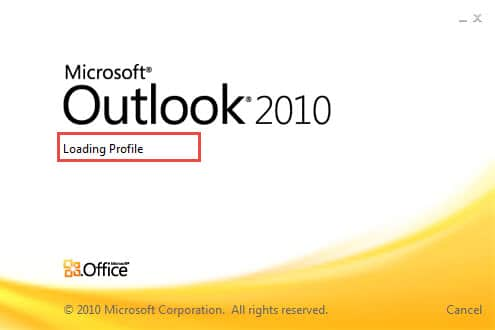 microsoft office 2010 outlook stuck on loading profile