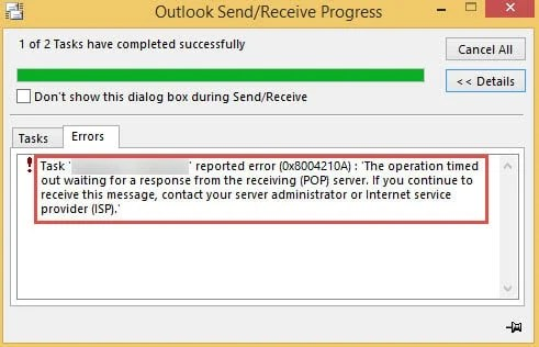 Outlook Error The operation timed out while waiting for a response from the receiving server
