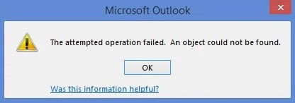Error: The attempted operation failed. An object cannot be found.