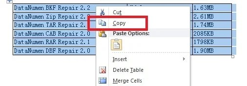 "Right click and select ""Copy"""