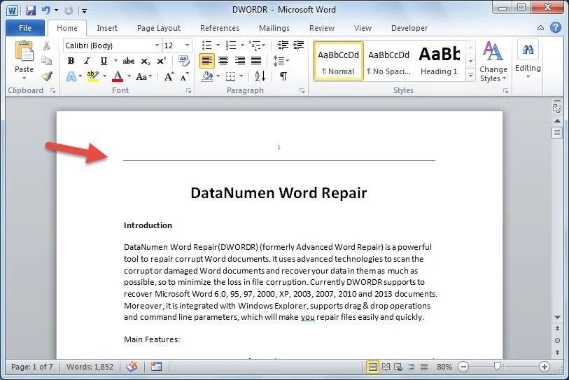microsoft word heading
