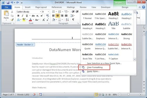 how to delete tab from the line in word