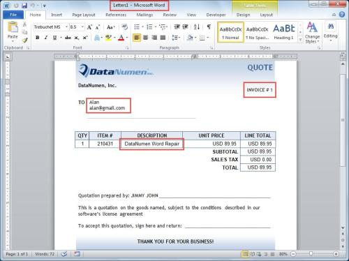 "Word automatically creates a new document ""Letter 1"""
