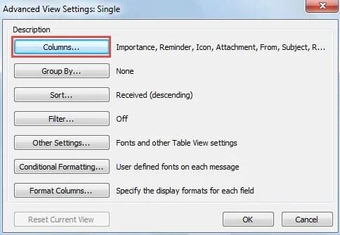 Click Columns Button