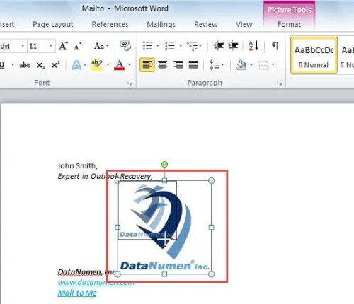 Resize in MS Word