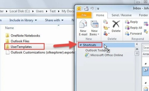 how to open an outlook template