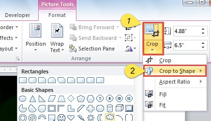 "Click ""Crop"" in ""Size"" Group ->Click ""Crop to Shape"" ->Choose a Shape"