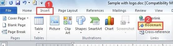 "Click ""Insert"" ->Choose ""Bookmark"""
