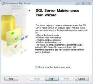 SQL Server Maintenance Plan Wizard