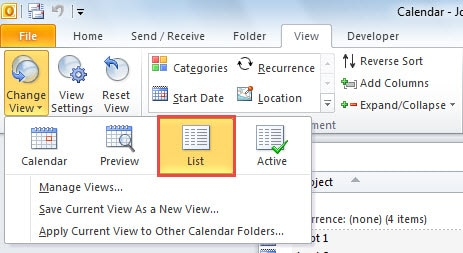 Change Calendar View to List View