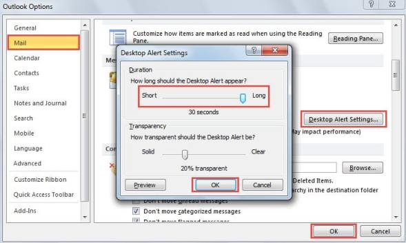 New Mail Desktop Alert Settings