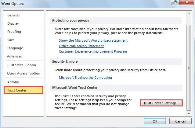 Trust Center Settings in MS Word