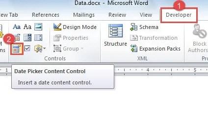 "Click ""Developer"" ->Click ""Date Picker Content Control"""