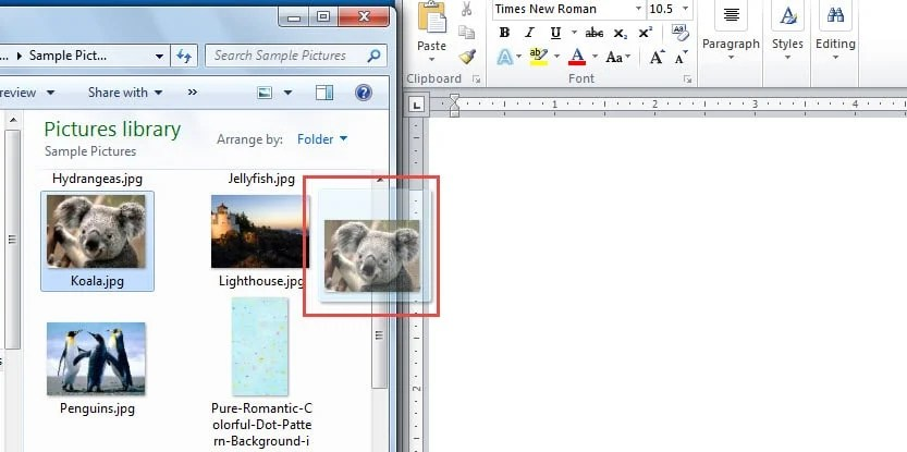 Drag the Picture -> Drop on Document