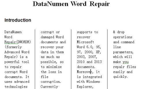 how to create 2 columns in word