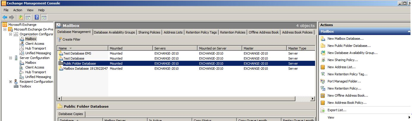 Create Public Folder Database
