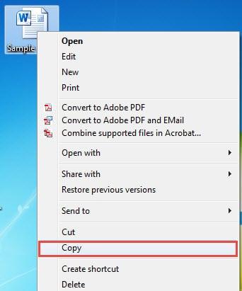 """Right Click a File ->Choose """"Copy"""""""