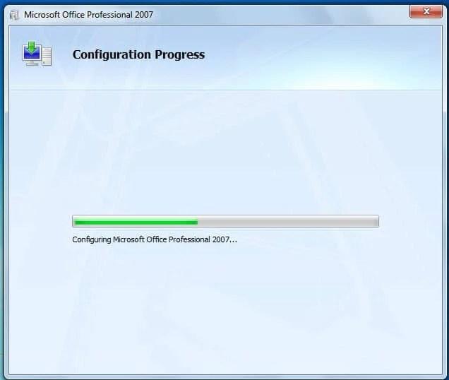 "Window of ""Configuration Progress"""