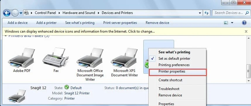 "Click ""Printer properties"" on the Menu"