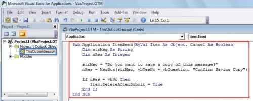 How to Let Outlook Ask Whether to Save a Copy When Sending