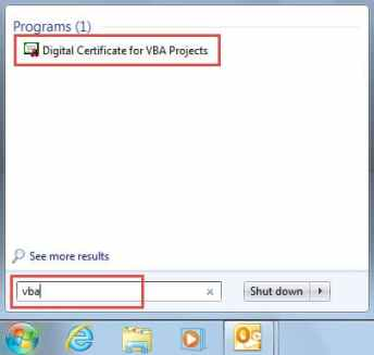 Digital Certificates for VBA Projects