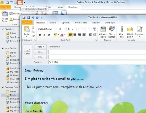 Email from a Template via Outlook VBA