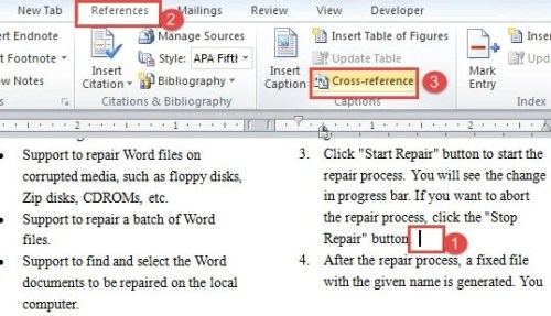 "Place Cursor ->Click ""References"" ->Click ""Cross-reference"""