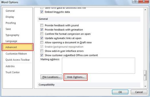 Change the Default Font in Web Options of Word