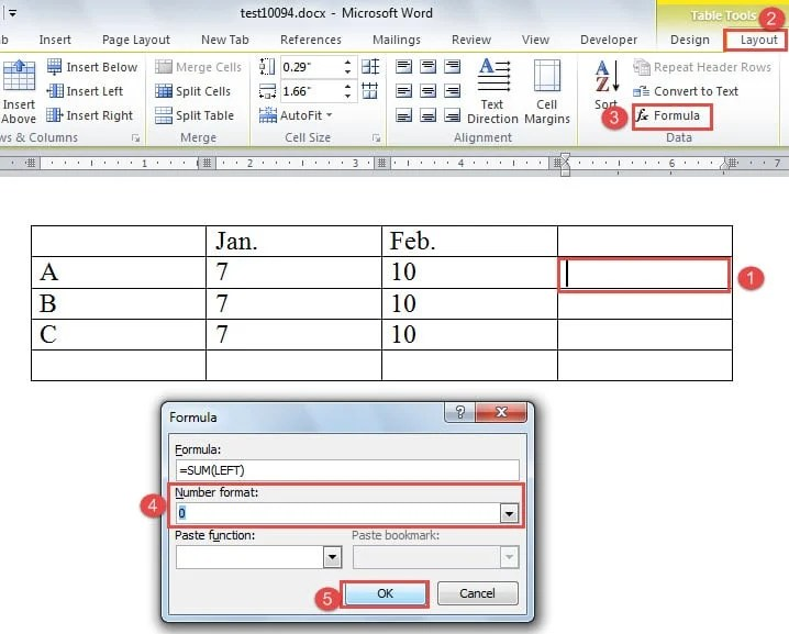 "Put Cursor in Cell ->Click ""Layout"" ->Click ""Formula"" ->Choose a Number Format ->Click ""OK"""