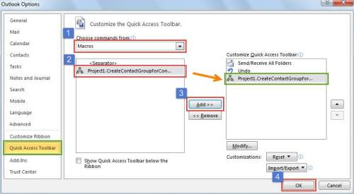 Add the New Module to Quick Access Toolbar