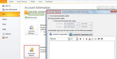 Automatic Replies in MS Excahnge Account